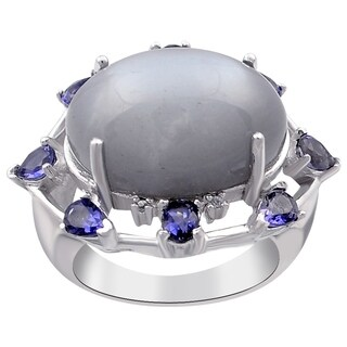 13.06 Carat Grey Moonstone,Iolite,White Topaz Sterling Silver Engagement Ring