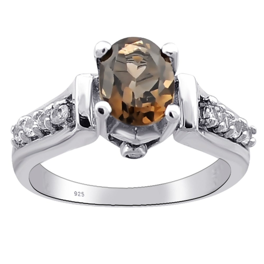 Pear Cut Smoky Quartz White Topaz 925 Sterling Silver Solitaire Stacking Ring
