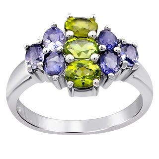 Sterling Silver Cluster Ring 2.10 Carat Peridot,Iolite Gemstone By Orchid Jewelry