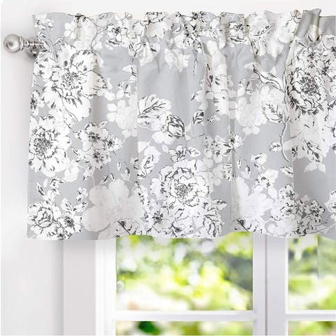 DriftAway Floral Pencil Sketch Pattern Lined Window Valance