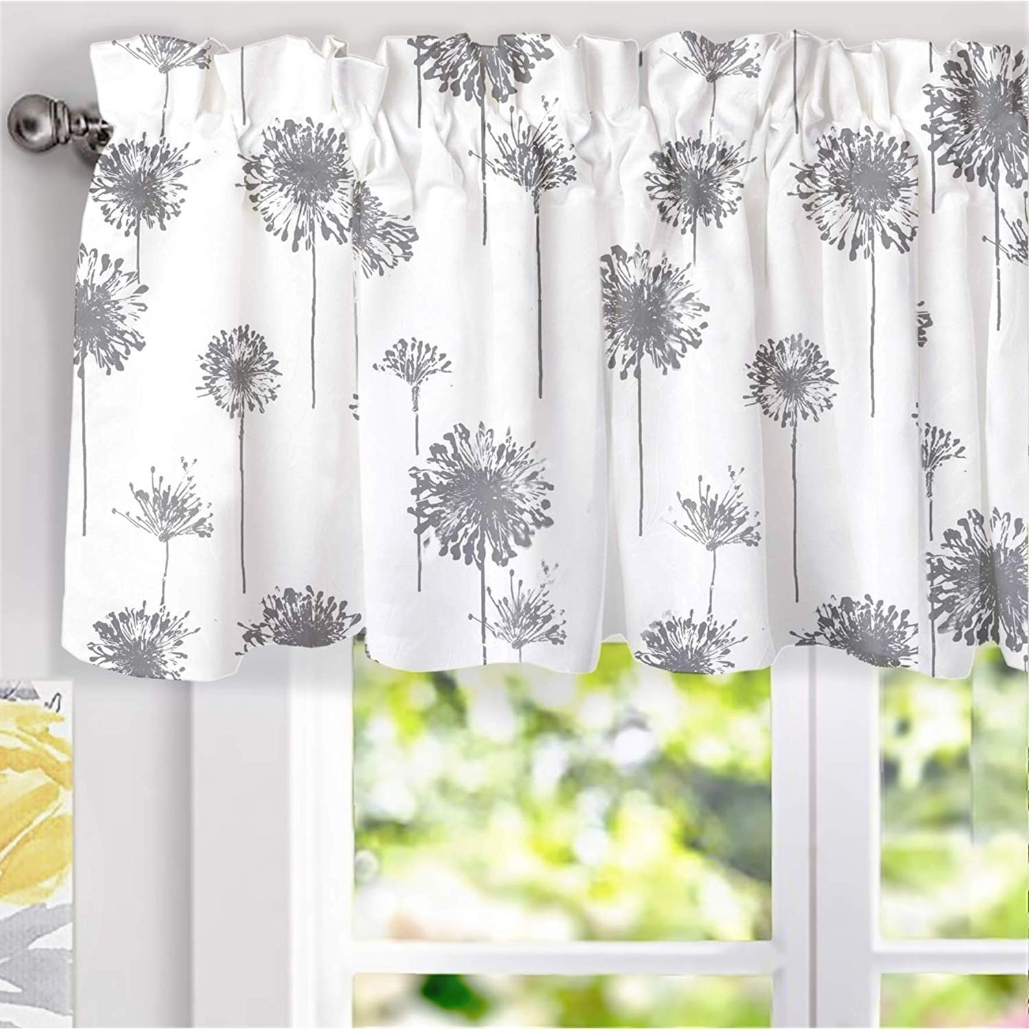 Porch & Den Nelly Dandelion Pattern Lined Window Valance