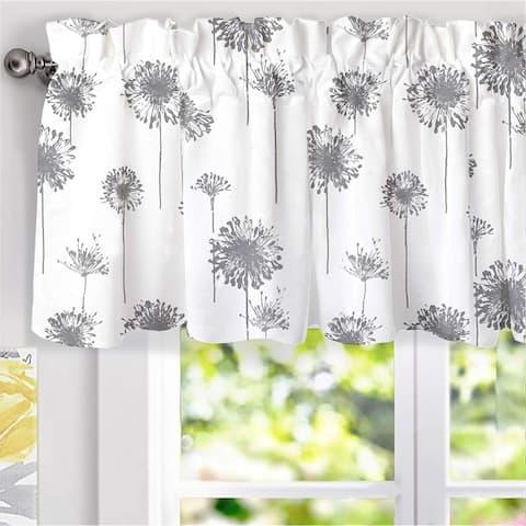 Porch & Den Nelly Dandelion Pattern Lined Window Valance