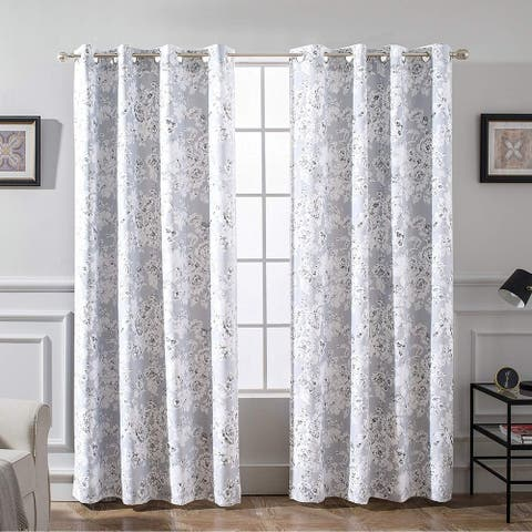 "DriftAway Floral Pencil Sketch Blackout Lined Curtain Panel Pair - 52"" width x 84 "" length - 52"" width x 84 "" length"