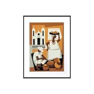 Handmade Bahia Cultural Cubist Painting (Brazil) - Earthtone/White