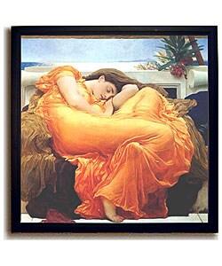 Leighton Flaming June Framed Canvas Art (Option: Mahogany Frame)