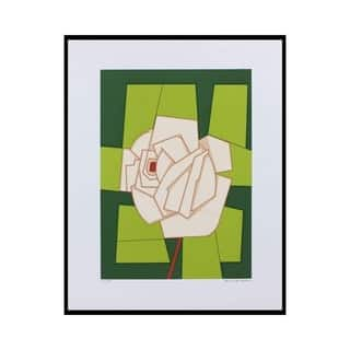 Handmade Rose Ii Ink On Canson Paper Painting (Brazil) - Green/Multi-color