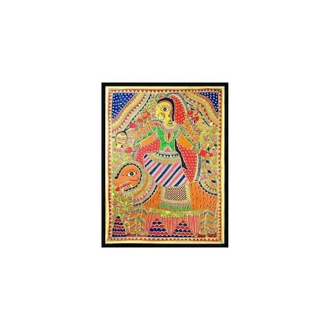 Handmade Angry Goddess Durga Madhubani Painting (India) - Orange/Multi-color