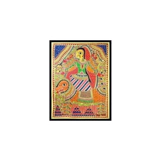 Handmade Angry Goddess Durga Madhubani Painting (India) - Orange/Multi-color