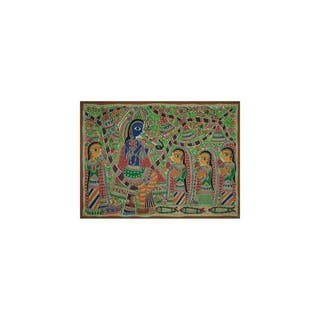 Handmade Fun With Krishna Madhubani Painting (India) - primary or jewel colors