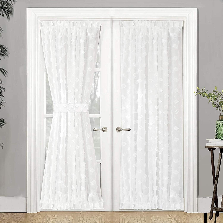 Driftaway Olivia Voile Chiffon Sheer Door Curtain French Door Panel Overstock 25656446 Off White 52 W X 72 L