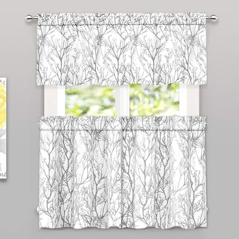 Porch & Den Pagosa Tree Branch -piece Valance and Tiers Set