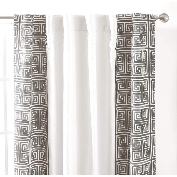 Driftaway Greek Key Trim Lined Blackout Curtain Panel