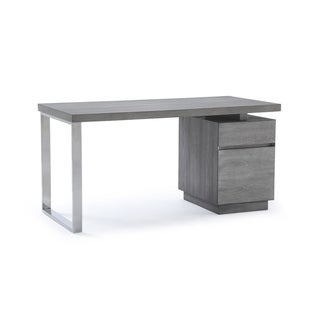 Modrest Carson Modern Grey Elm & Stainless Steel Desk