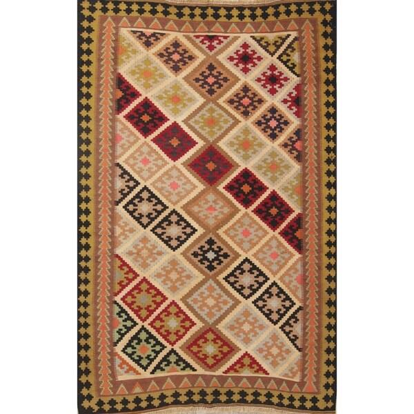 "Tribal Kilim Shiraz Hand Woven Woolen Persian Tribal Area Rug - 6'5"" x 4'4"""