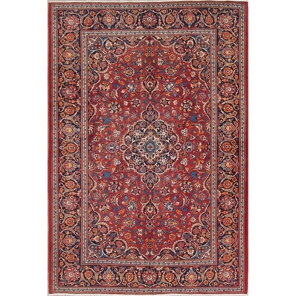 """Hand Knotted Wool Antique Floral Kashan Persian Area Rug - 6'8"""" x 4'7"""""""
