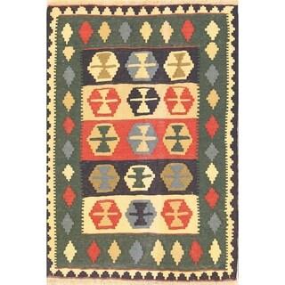 "Tribal Flat-Woven Kilim Shiraz Hand Woven Persian Area Rug - 4'11"" x 3'6"""
