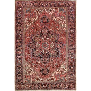 """Antique Vegetable Dye Heriz Serapi Hand Knotted Persian Large Area Rug - 13'8"""" x 9'5"""""""