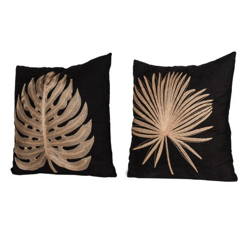 A&B Home Black 18-inch Leaf Embroided Throw Pillows (Set of 2)
