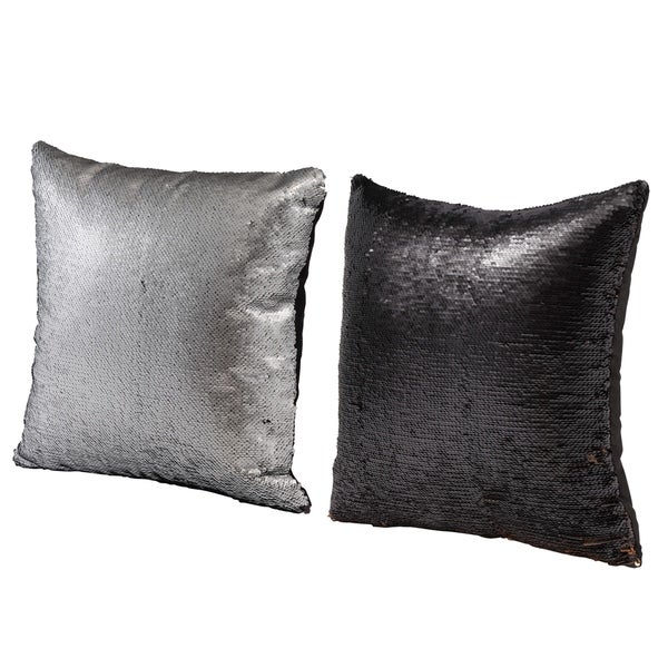 Vintage 16-inch Silver Glamour Throw Pillows (Set of 2)