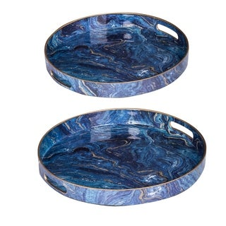 Set of Two  Modern Chic Blue Trays L:D14,  S:D12 inch