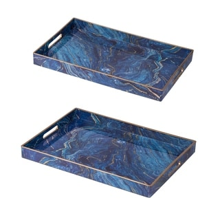 Set of Two Modern Chic Blue Rectangular Trays L:19x14,  S:18x12 inches