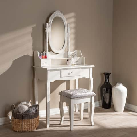 Baxton Studio White Wood French Country 2-piece Vanity Table and Velvet-upholstered Ottoman Set
