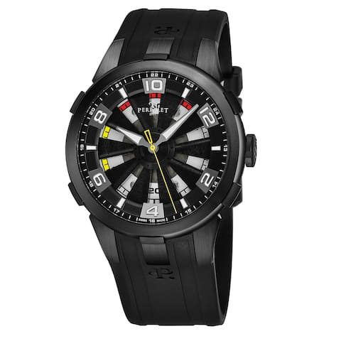 Perrelet Men's A1098/1 'Turbine Sung Kang' Black Dial Black Rubber Strap Driver Friendly Limited Edition Automatic Watch