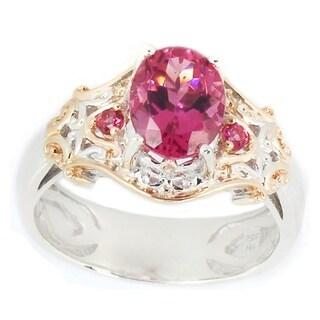 Michael Valitutti Palladium Silver Oval & Round Pink Tourmaline Ring