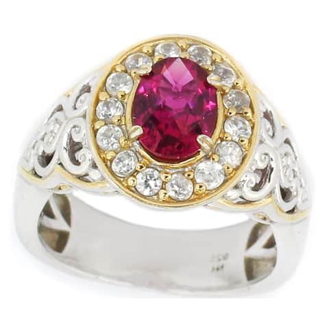 Michael Valitutti Palladium Silver Oval Rubelite & White Zircon Halo Ring