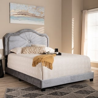 Contemporary Grey Velvet Fabric Bed