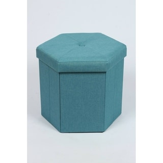 Shop Square Folding Fabric Storage Ottoman Overstock