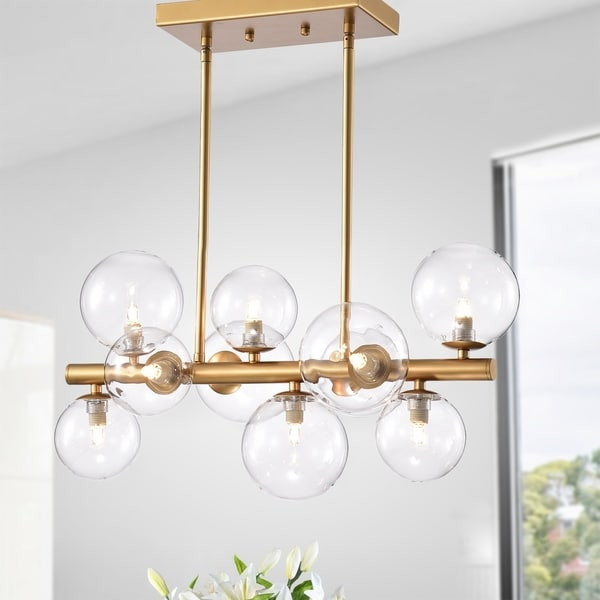 Darden Gold 10-Light Clear Glass Shade Linear Chandelier. Opens flyout.