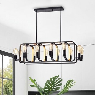 Agnetha Black 12-Light Chandelier with Clear Shade