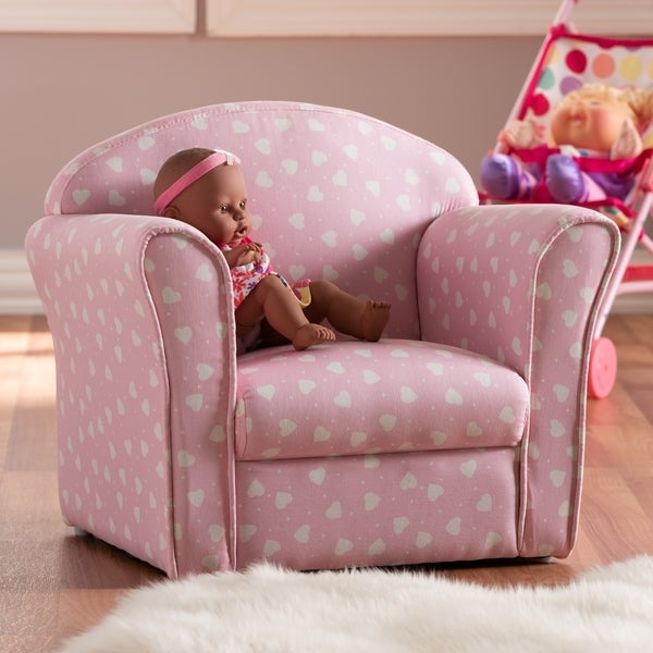 Contemporary Pink and White Heart Patterned Armchair. Opens flyout.