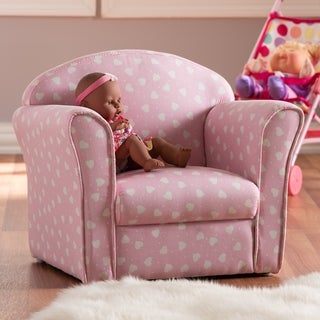 Contemporary Pink and White Heart Patterned Armchair