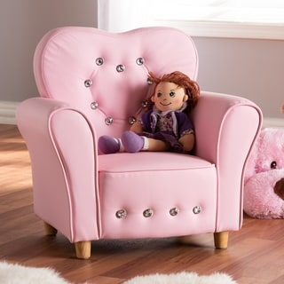 Contemporary Pink Faux Leather Armchair