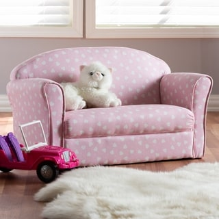 Contemporary Pink and White Heart Patterned Sofa