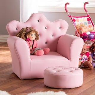 Contemporary Pink Faux Leather 2-Piece Armchair and Footrest Set