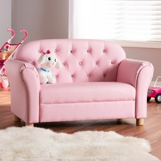 Contemporary Pink Faux Leather Loveseat