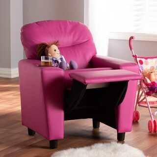 Contemporary Magenta Pink Faux Leather Recliner