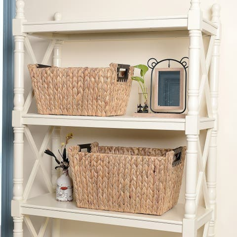 Villacera Ford Rectangle Handmade Wicker Baskets made of Water Hyacinth