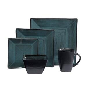 Oneida Tremiti 20 Piece Reactive Glaze Stoneware Dinnerware Set - Teal