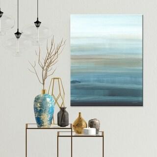 """Norman Wyatt Home """"Serene Calm"""" Blue Abstract Canvas Wall Art"""