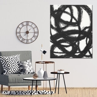 "Norman Wyatt Home ""Kinetic"" Black/ White Abstract Gallery Wrapped Canvas - Black"