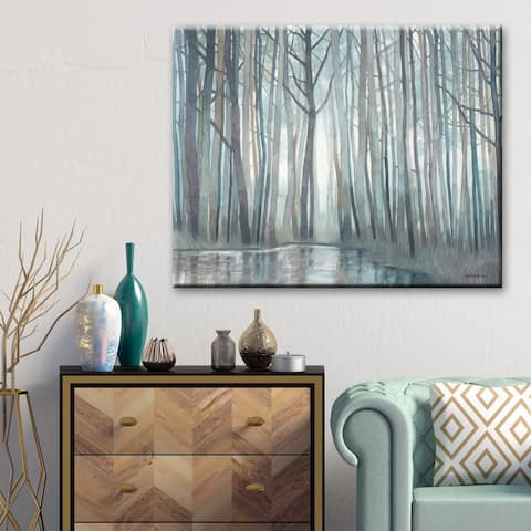 "Norman Wyatt Home ""Mill Creek Run"" Grey/ Blue Landscapes Gallery Wrapped Canvas - Grey"