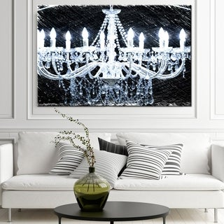 "Norman Wyatt Home Modern White ""Chandelier 2"" Gallery Wrapped Canvas"