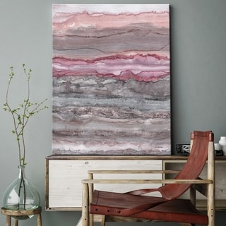 "Norman Wyatt Home ""Rose Quartz Quarry"" Pink/ Brown Abstract Canvas Wall Art - Pink"