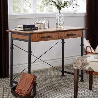 Myra II Rustic Oak Finish Writing Desk with Storage by iNSPIRE Q Classic