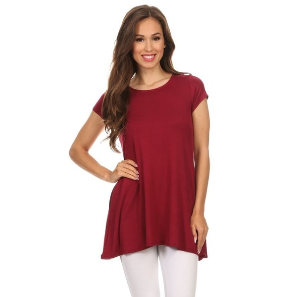 Women's Basic Short Sleeve Loose Fit T-shirt Tunic Top. Opens flyout.