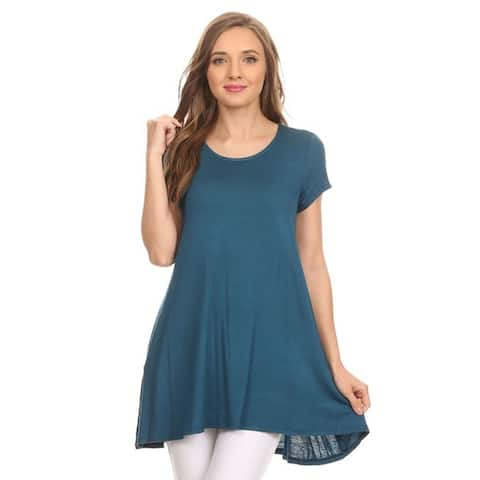Women's Solid Basic Short Sleeve Loose Fit T-Shirt Tunic Top